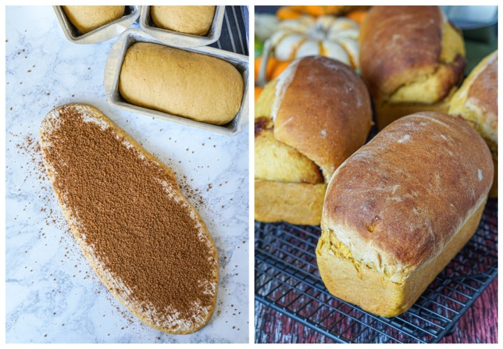 2 photo collage- rolled out pumpkin dough covered in cinnamon sugar on the left and four Pumpkin Cinnamon Swirl Bread loaves on the right.