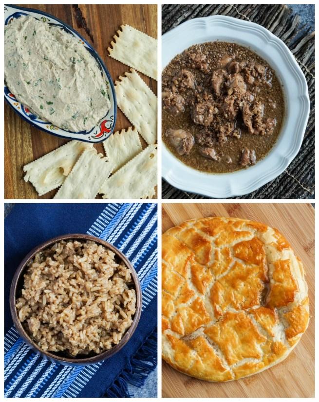 Other dishes from Taste of Persia: Prasi Pkhali (Georgian Leek Pâté), Fesanjun Khoresh (Classic Pomegranate Walnut Chicken Stew), Birinji Rash (Kurdish Black Rice), and Gata (Armenian Puff Pastry Cake).