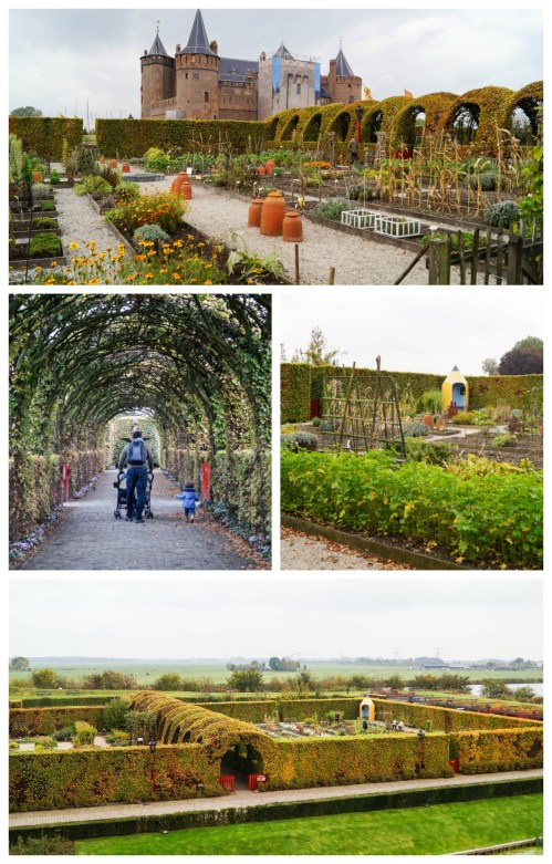 Gardens next to Muiderslot with arches and green shrubs.