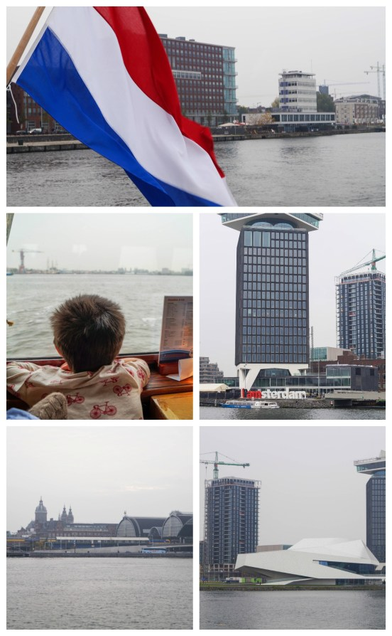 Dutch flag on the back of De Pannenkoekenboot and a view of the water.