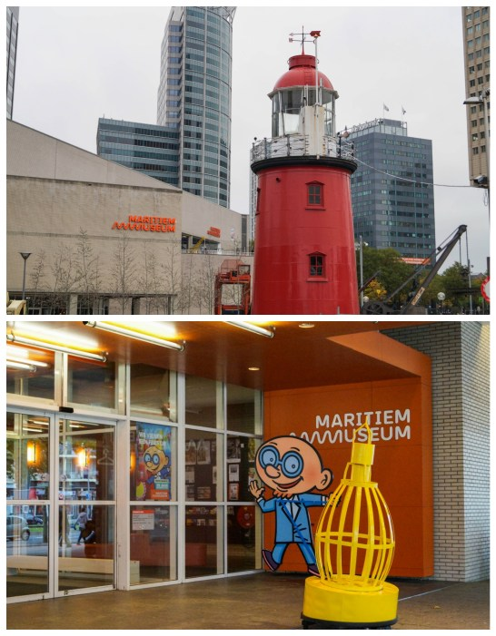 Entrance to Maritiem Museum with a red lighthouse