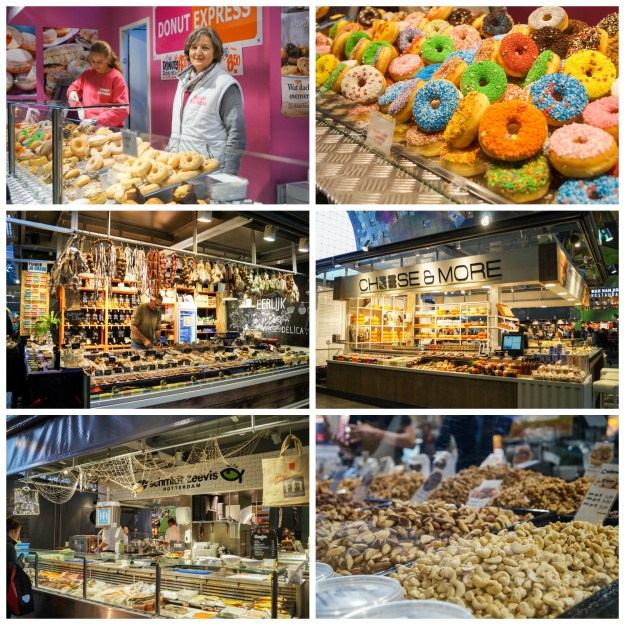 Stalls inside Markthal- doughnuts with colorful glaze toppings, cheese, cured meats, and nuts