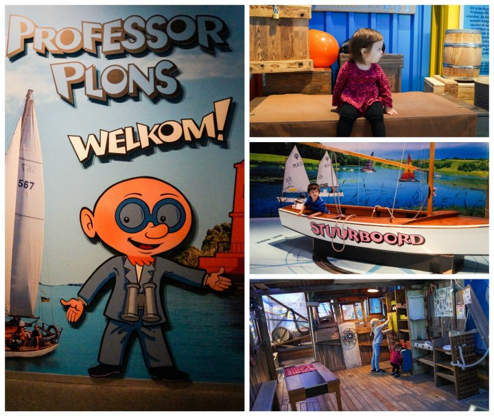 Professor Plons- Welkom! sign and entrance to play area with boats