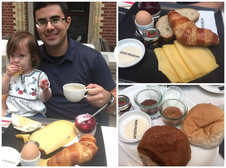 Eating bread, croissants, eggs, cheese, and jam at Rijksmuseum Café