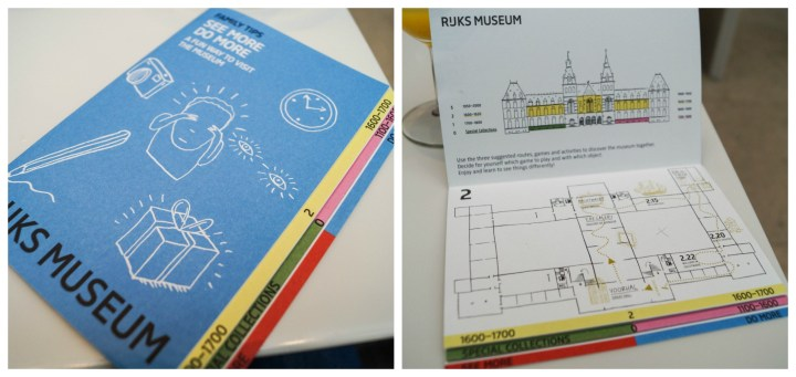 Paper map of the Rijksmuseum and labeled activities for children