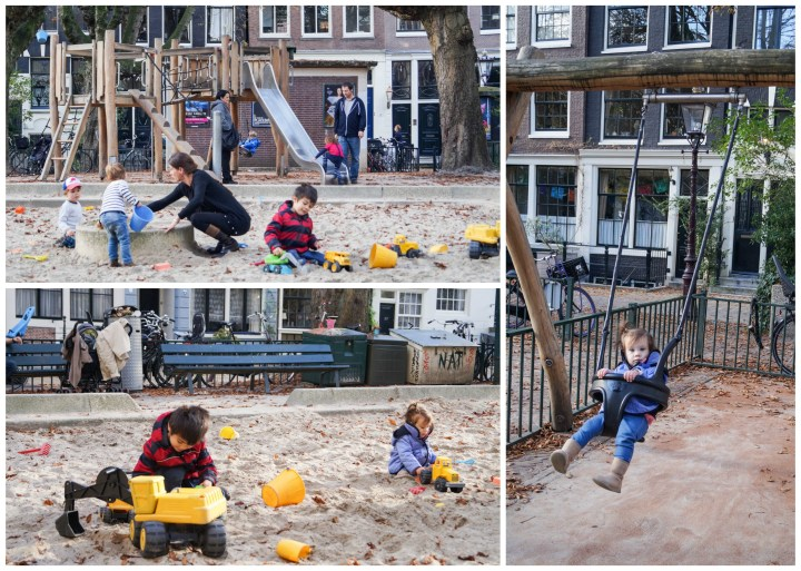 Playground covered in sand, swings in Amsterdam