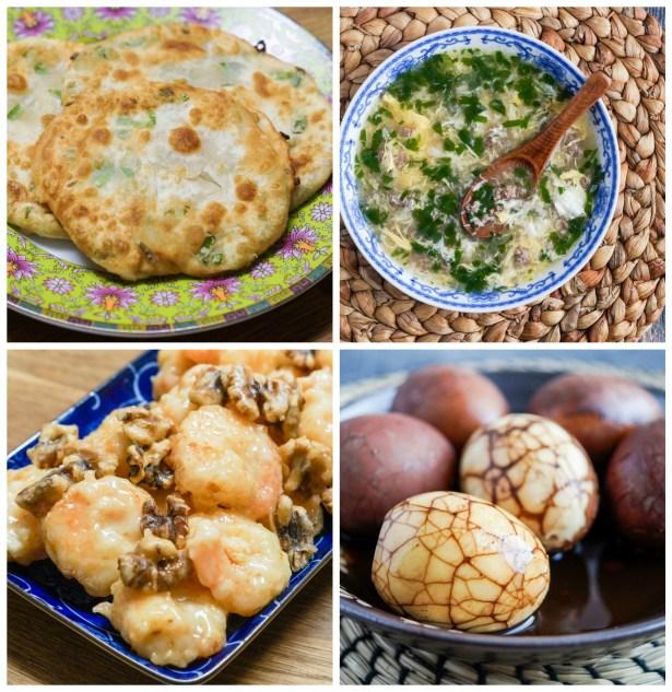 Other dishes from Easy Chinese Recipes: Green Onion Pancakes, West Lake Beef Soup (Xi Hu Niu Rou Geng), Honey Walnut Shrimp (Mi Tao Xia), and Tea Leaf Eggs (Cha Ye Dan).