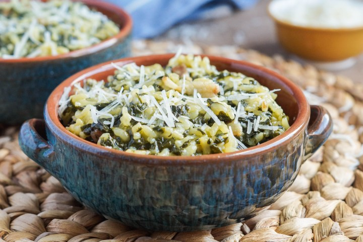 Arroz con Acelgas (Spanish Rice with Swiss Chard) topped with Parmesan