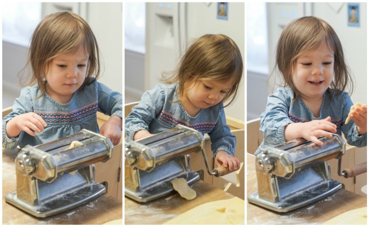 Collage of rolling the pasta dough through the pasta machine.