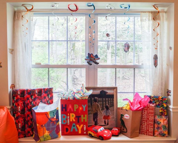 Presents on a window sill.