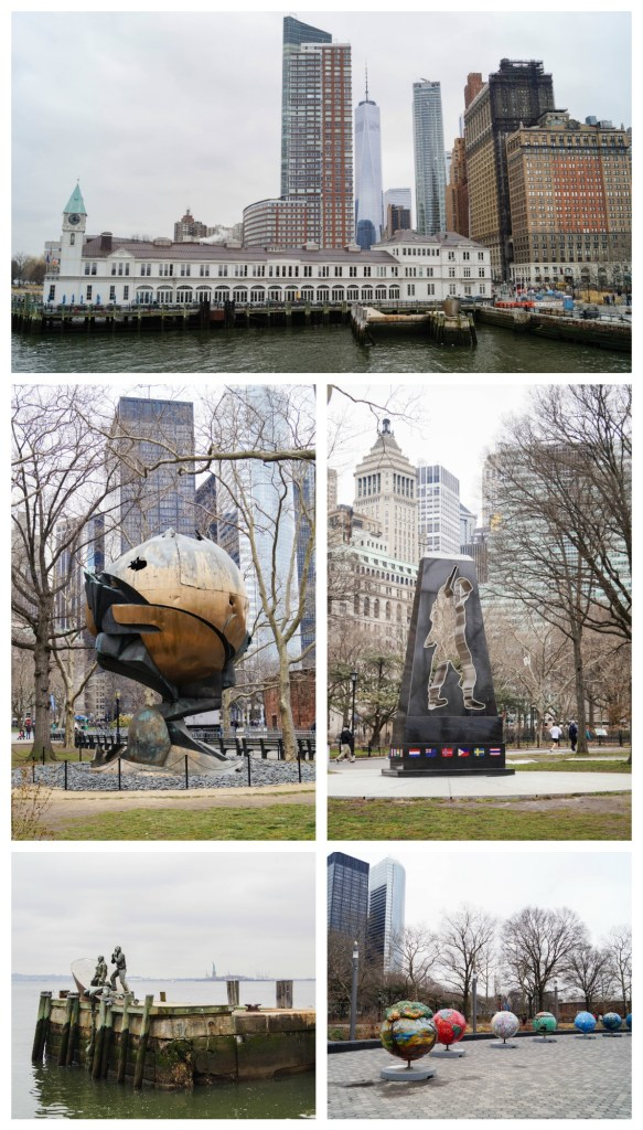 Waterfront view and statues at Battery Park in New York City.