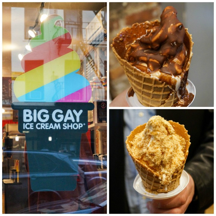 Two ice cream cones and entrance to Big Gay Ice Cream Shop with a rainbow ice cream swirl sign.