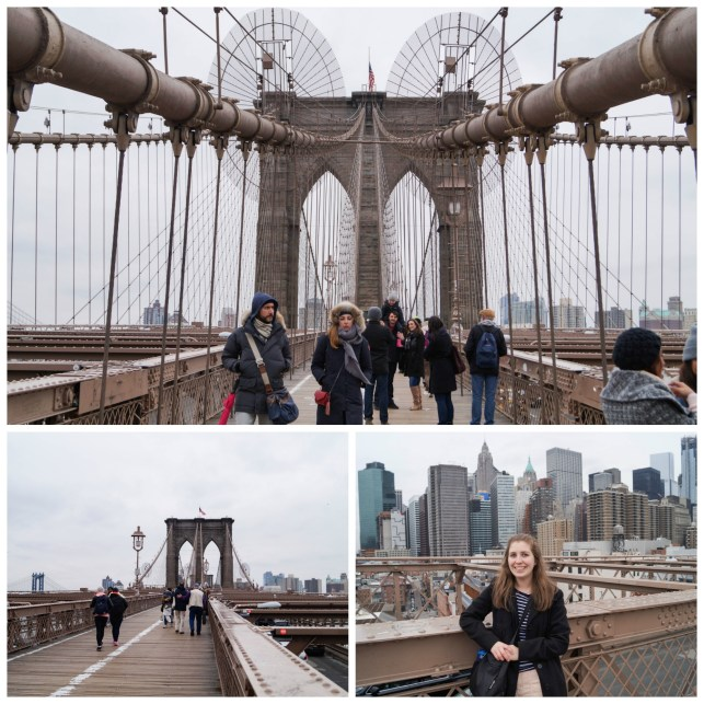 Walking on the Brooklyn Bridge with a view of New York City in the background.