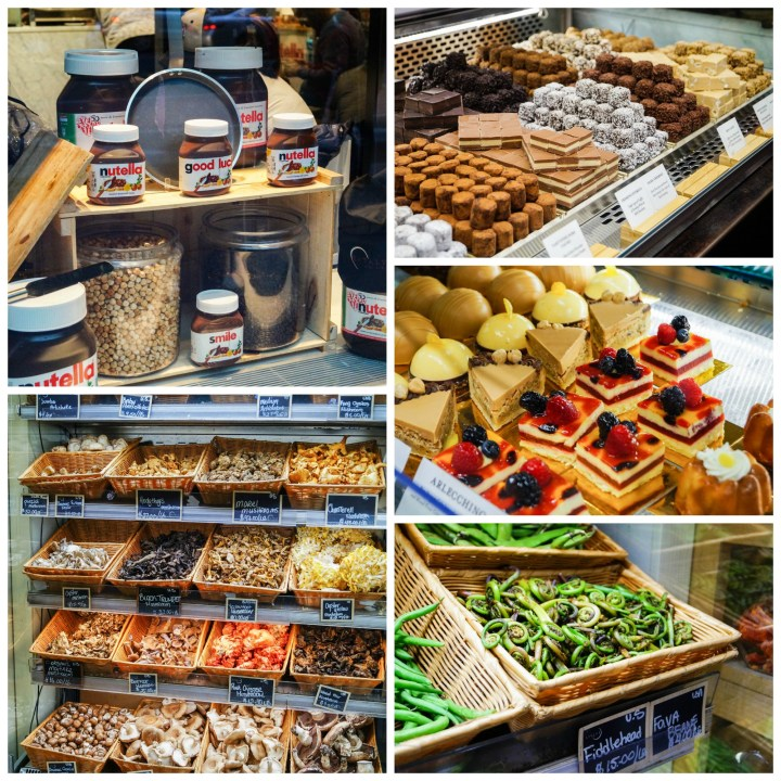 Nutella, vegetables, pastries and chocolate on display at Eataly.