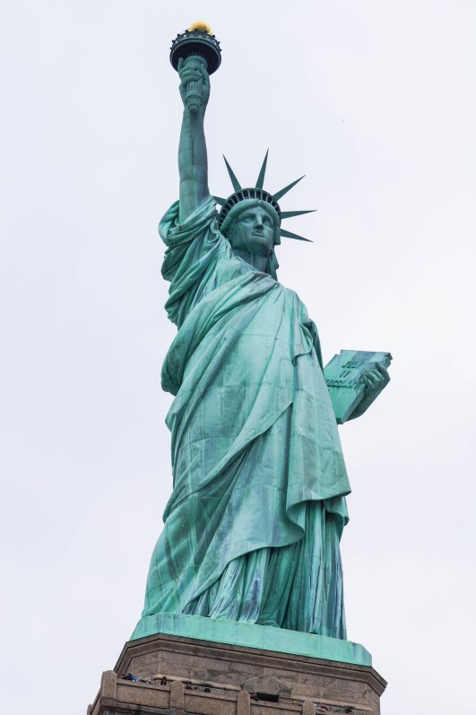 Close up view of Statue of Liberty in New York City.