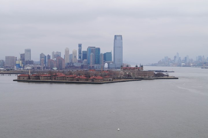 View of Ellis Island from the Statue of Liberty.
