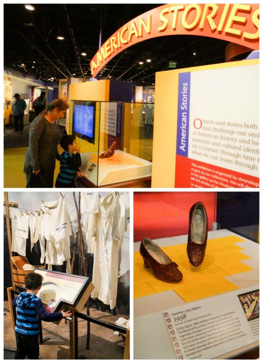 American Stories exhibit in Smithsonian National Museum of American History with Dorothy's red slippers