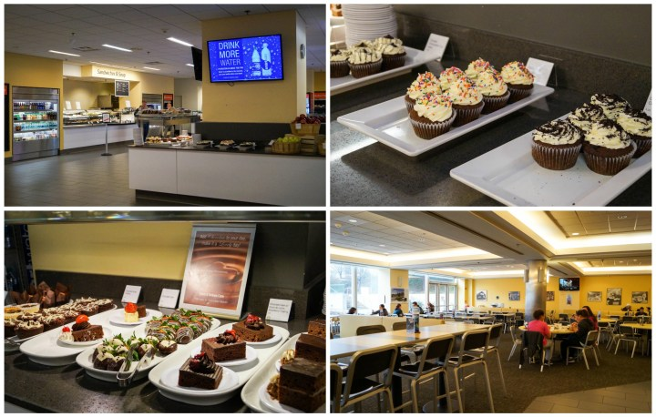 Stars and Stripes Cafe with cafeteria seating and cupcakes/desserts served buffet-style.