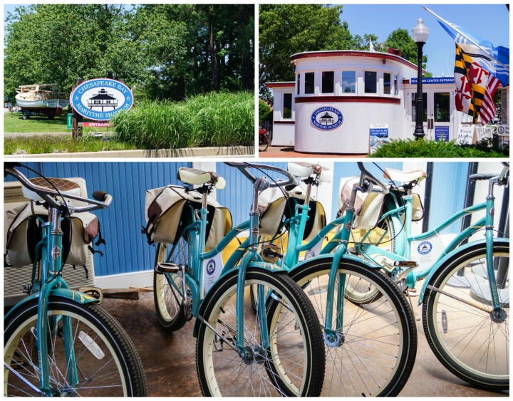 Entrance to the Chesapeake Bay Maritime Museum and light blue bicycles lined up.