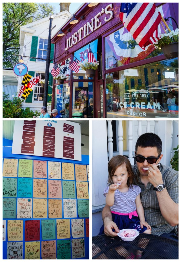 Outside of Justine's Ice Cream Parlor and eating a scoop of ice cream.