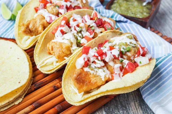Fish Tacos with crema and Pico de Gallo