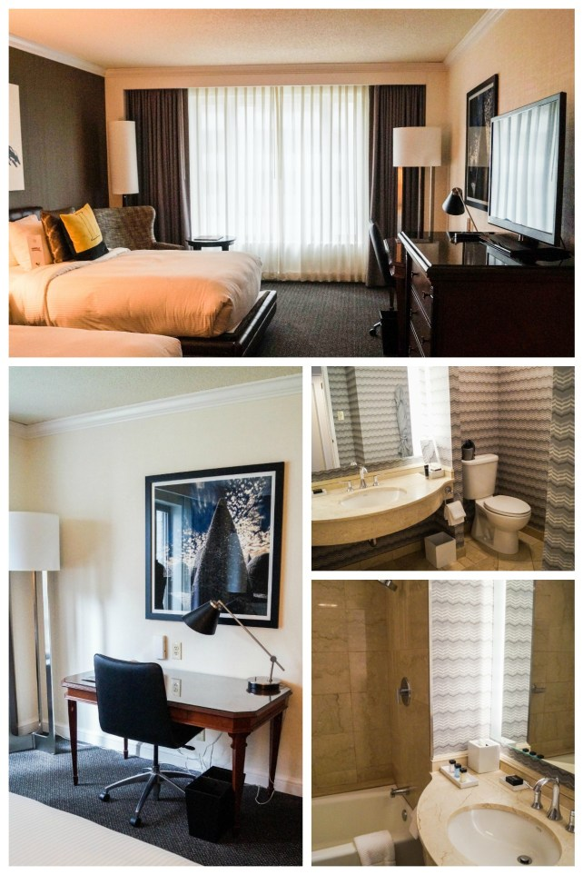 Collage of hotel room with bed, desk, bathroom, and sink.