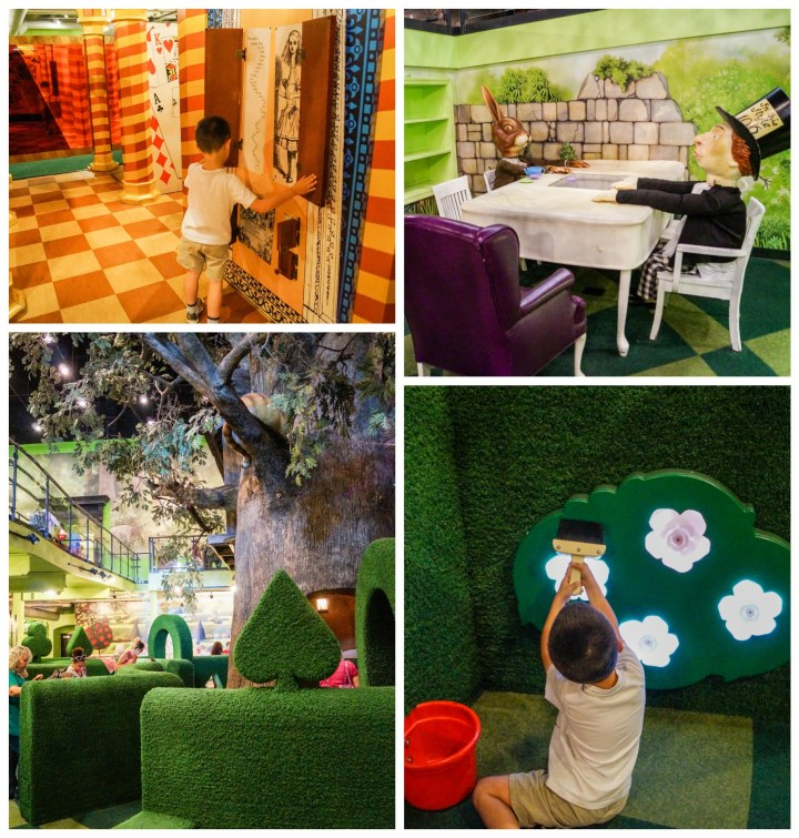 Pretend garden and Mad Hatter tea party in Wonderland exhibit at Please Touch Museum.