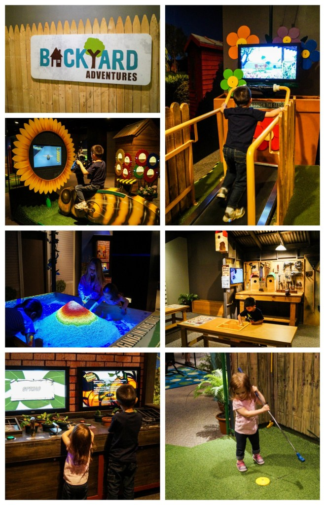 Backyard Adventures special exhibit with games, treadmills, and touch screens.