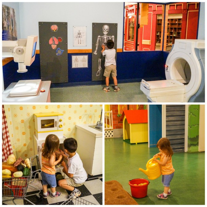 Doctor's office and supermarket activities at City Capers exhibit in the Please Touch Museum.