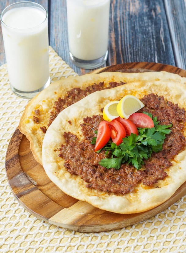Lahmacun (Turkish Pizza) on a platter