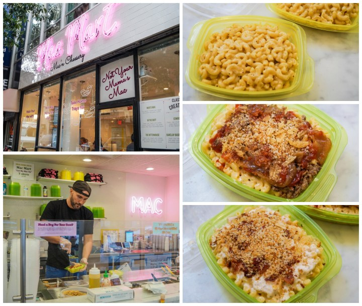 Entrance and interior of Mac Mart with Mac and cheese in take out boxes.