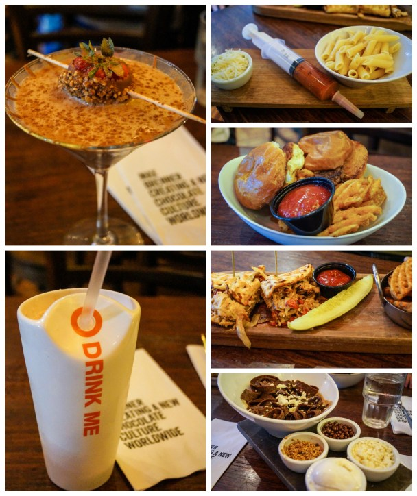 Food at Max Brenner with Strawberry White Chocolate Milkshake