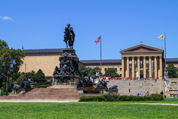 Outside the Philadelphia Museum of Art.