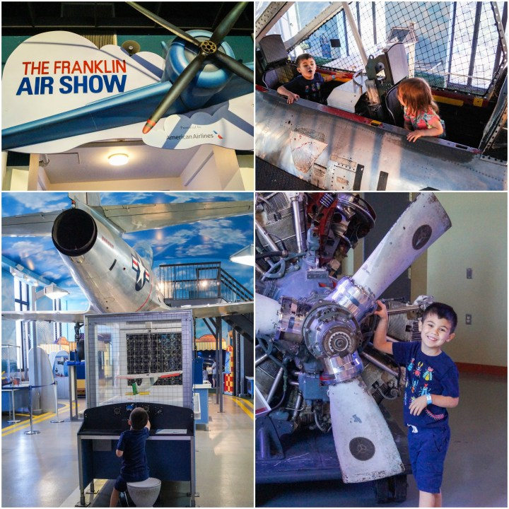 Airplanes and propellers in the Franklin Air Show exhibit at The Franklin Institute.