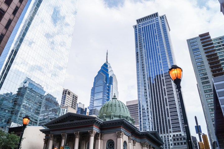 Skyscrapers and city view in Philadelphia.