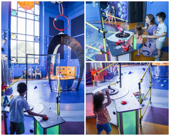 Shooting foam rockets through rings in the Flight Fantasy exhibit at Please Touch Museum.