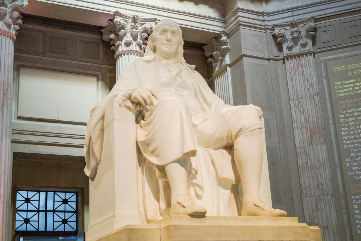 Statue of Benjamin Franklin inside The Franklin Institute.