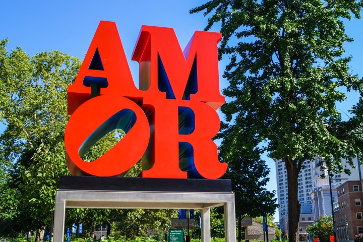 Large red AMOR sign in Logan Square.