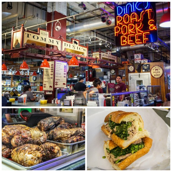 Tommy DiNic's stall at Reading Terminal Market and a roast pork sandwich.