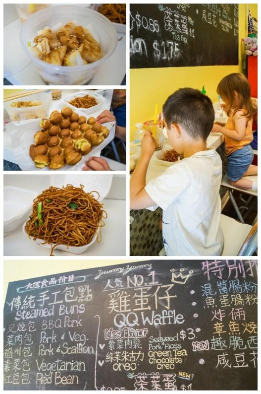 Cheung fun, noodles, and Hong Kong waffle at Yummy Yummy.