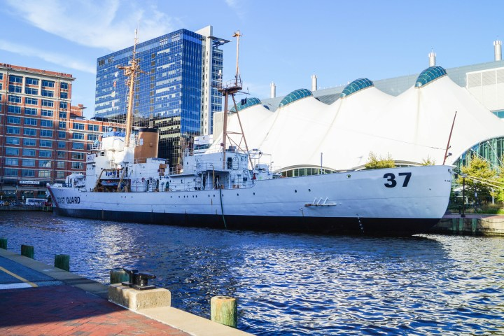 Outer view of the US Coast Guard Cutter TANEY docked in Baltimore's Inner Harbor.