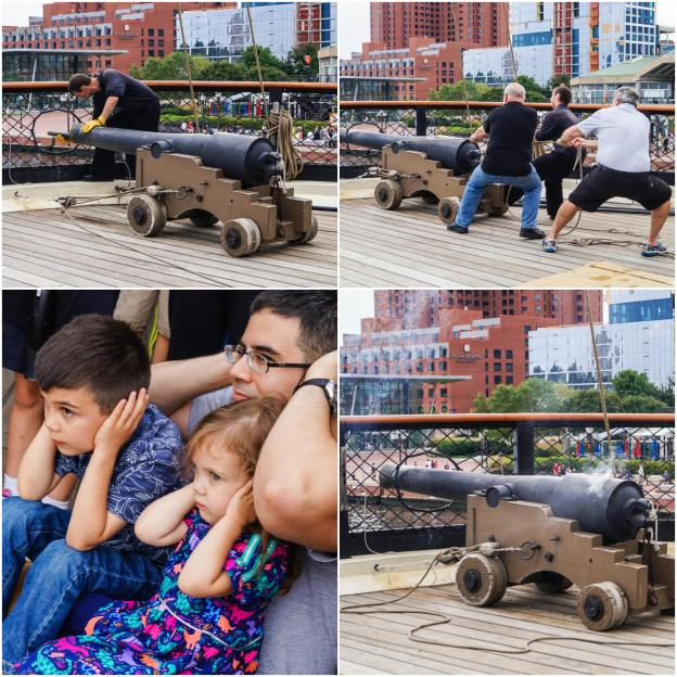 Sitting on the deck of the USS Constellation and watching the cannon being fired.