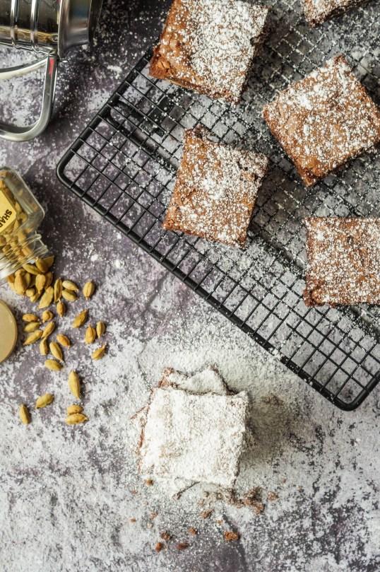 Cardamom Brownies with powdered sugar