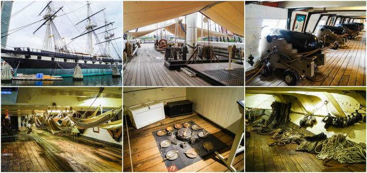 Collage of a view of the outside of the USS Constellation and photos of the deck and cannons.