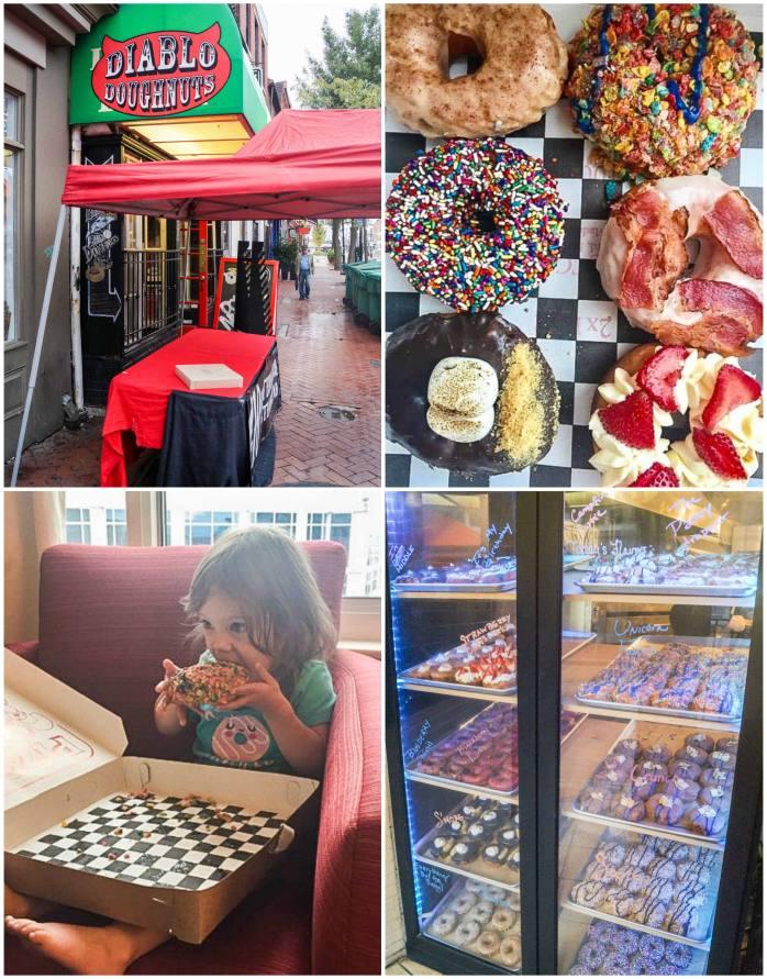 Six doughnuts from Diablo Doughnuts in Baltimore, Maryland.