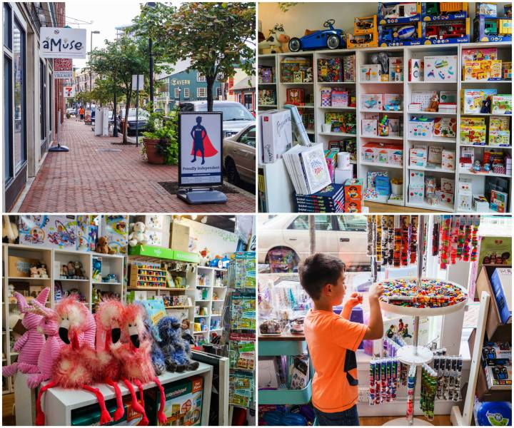 Storefront and interior of Amuse Toys in Fells Point- Baltimore, Maryland.