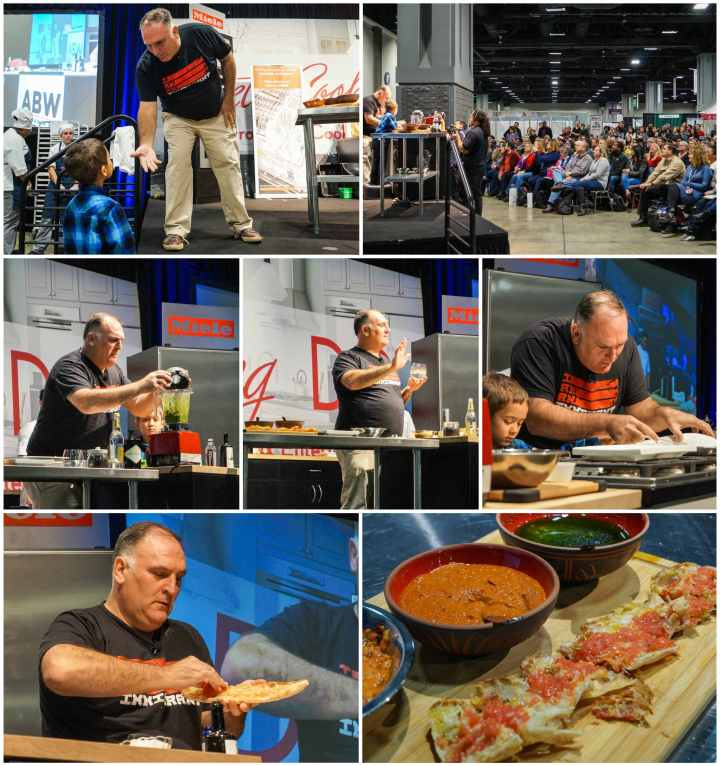 José Andrés making Pan con Tomato and talking to a crowd of people.