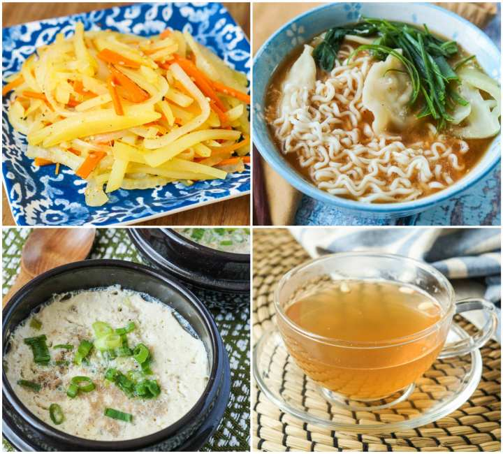Other dishes from The Korean Table- Gamja Bokkum (Stir-fried Vegetable Matchsticks), Mandu Ramyun (Ramen Noodle and Dumpling Soup), Geran Chim (Egg Custard Beef Soup), and Saenggang Cha (Ginger Tea).
