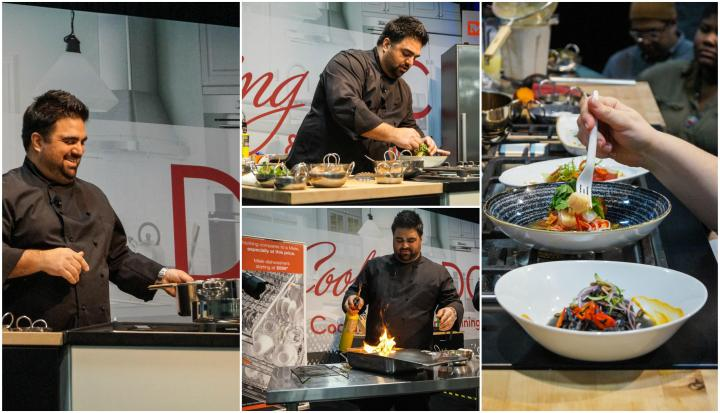 Victor Albisu performing a cooking demonstration at MetroCooking DC.