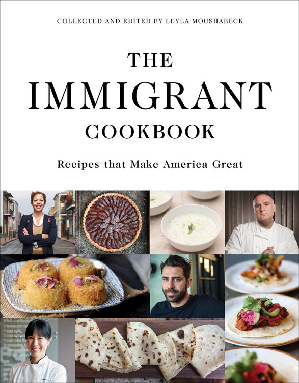 Cookbook cover- The Immigrant Cookbook: Recipes that Make America Great, collected and edited by Leyla Mousabeck.